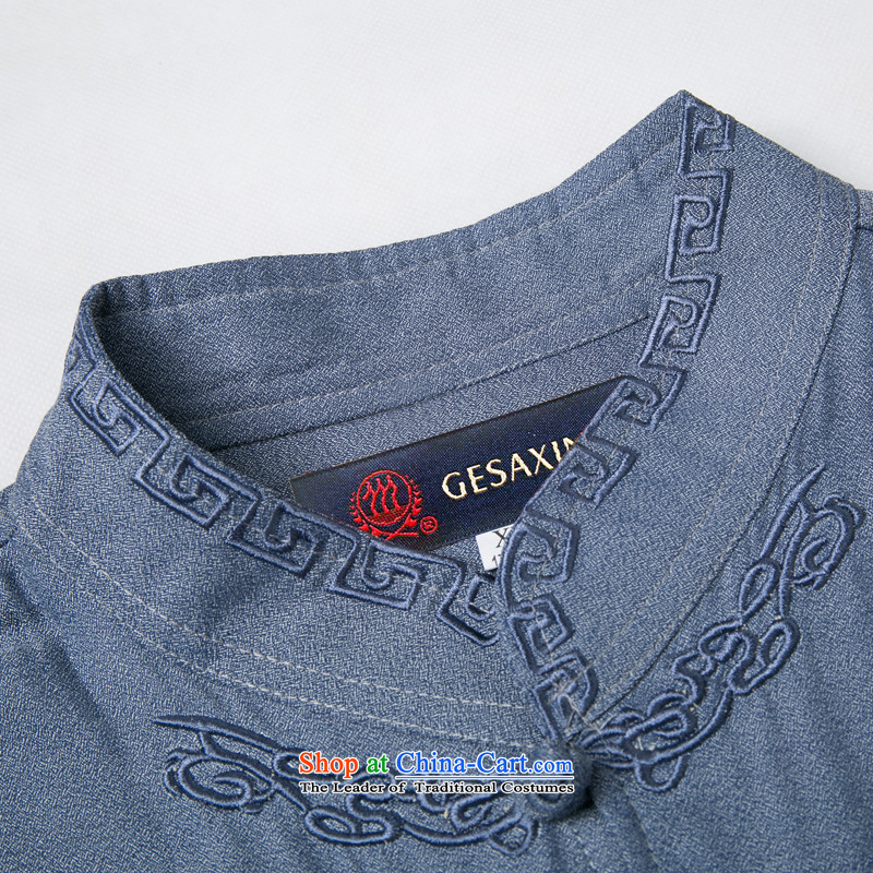 Bosnia and thre line 2015 Summer in older men large short-sleeved shirt Tang dynasty short-sleeved shirt with father men embroidery process of older men Tang dynasty khaki聽M/170, thre line (gesaxing and Tobago) , , , shopping on the Internet