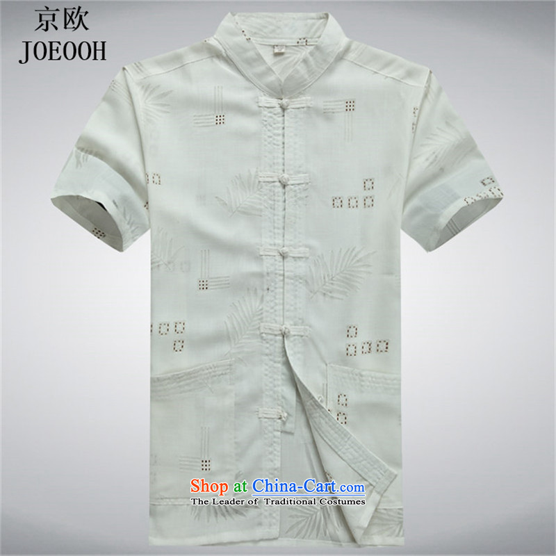 Beijing Summer middle-aged men OSCE Tang dynasty in his shirt-sleeves shirt men casual relaxd older China wind shirt White聽XL