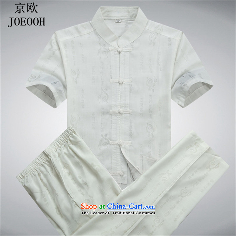 Beijing New OSCE Tang dynasty male summer short-sleeve packaged in older well field Chinese loose white shirt collar kit燲L