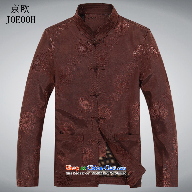 Beijing Spring and Autumn Europe men Tang dynasty long-sleeved shirt, elderly men tray clip older persons long-sleeved jacket men and Shuangxi燲XXL color