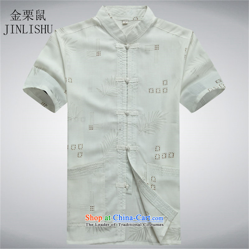 Kanaguri Mouse middle-aged men summer Tang dynasty short-sleeved shirt, older men's shirt with white?XXXL Summer