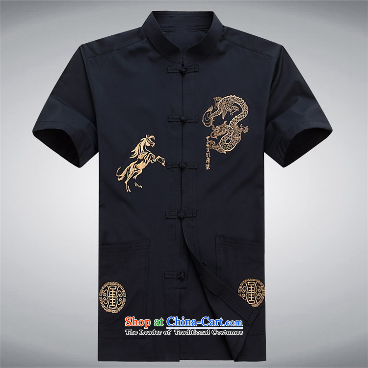 Hiv Rollet short-sleeved shirts in the summer of Tang Dynasty older Men's Shirt father replacing older persons men casual shirts Tibetan Tang Blue M picture, prices, brand platters! The elections are supplied in the national character of distribution, so action, buy now enjoy more preferential! As soon as possible.