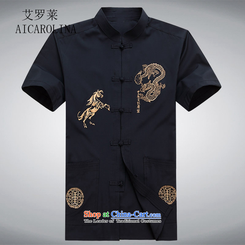 Hiv Rollet short-sleeved shirts in the summer of Tang Dynasty older Men's Shirt father replacing older persons men casual shirts Tibetan Tang Blue M
