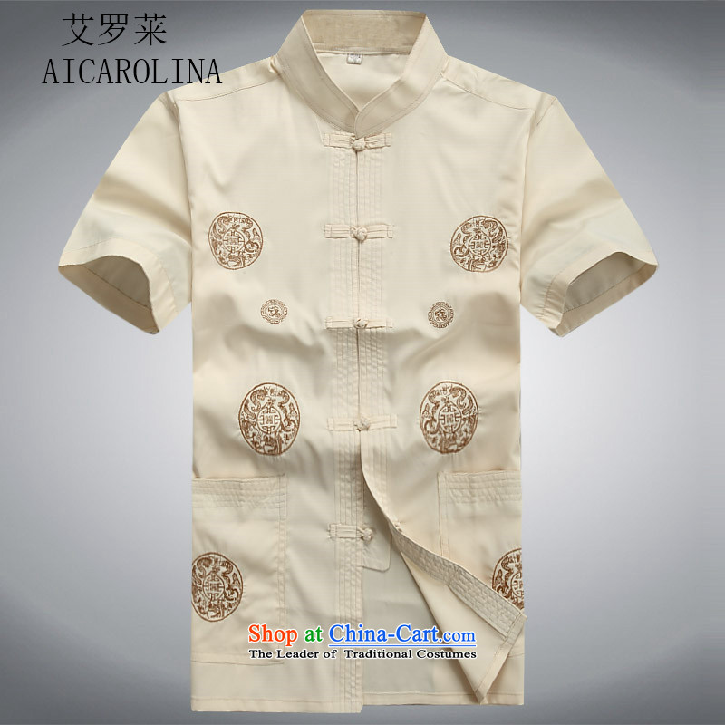 Hiv Rollet summer men Tang Dynasty Package short-sleeved older people in China wind Chinese men's summer beige jacket燲XL