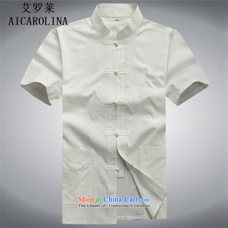 Hiv Rollet 2015 Summer Package short-sleeved Tang dynasty in older men's China wind men's Tang dynasty white Kit聽, L, HIV (AICAROLINA ROLLET) , , , shopping on the Internet