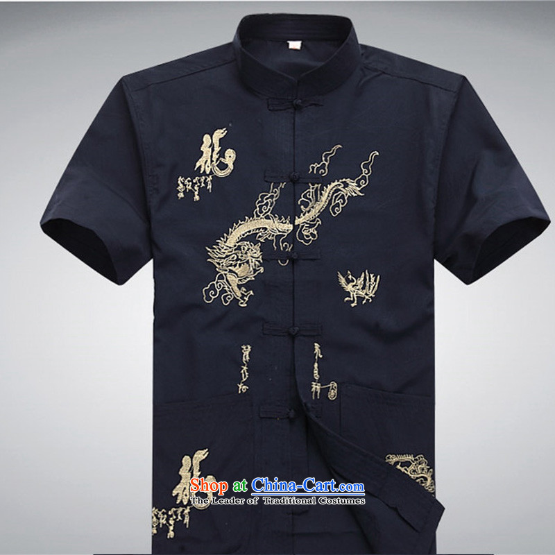 Hiv Rollet summer male Tang Dynasty Summer Package men short-sleeved shirt with Chinese-buttoned, dark blue packaged XL, HIV (AICAROLINA ROLLET) , , , shopping on the Internet