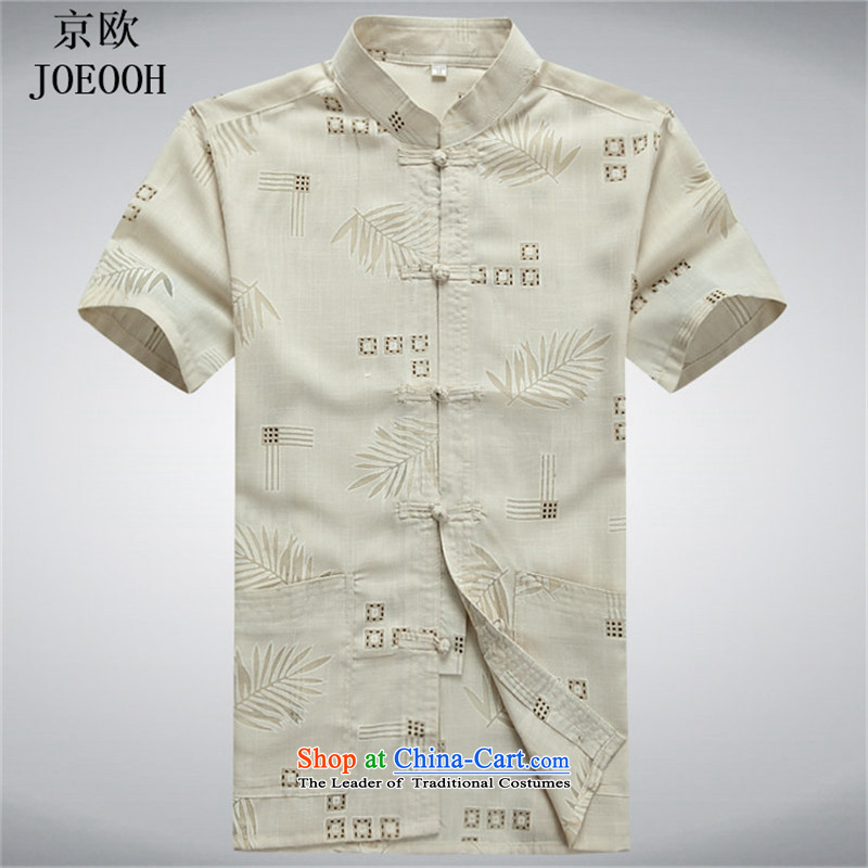 Beijing Europe China wind Tang dynasty male short-sleeved shirts in linen men cotton linen clothes summer older father replacing聽XXXL Beige