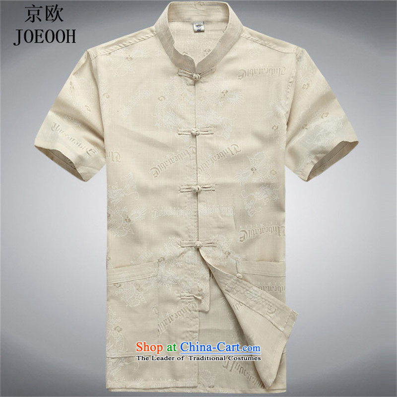 Beijing Summer Europe men short-sleeved T-shirt summer Tang replacing older men cotton linen flax shirt elderly Chinese Han-beige聽XXL