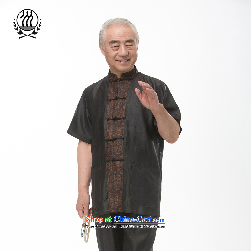 Bosnia and thre line short-sleeved Tang dynasty summer new men incense cloud male silk yarn Tang dynasty in his shirt-sleeves blouse of older men Tang dynasty incense cloud yarn燤_170 black