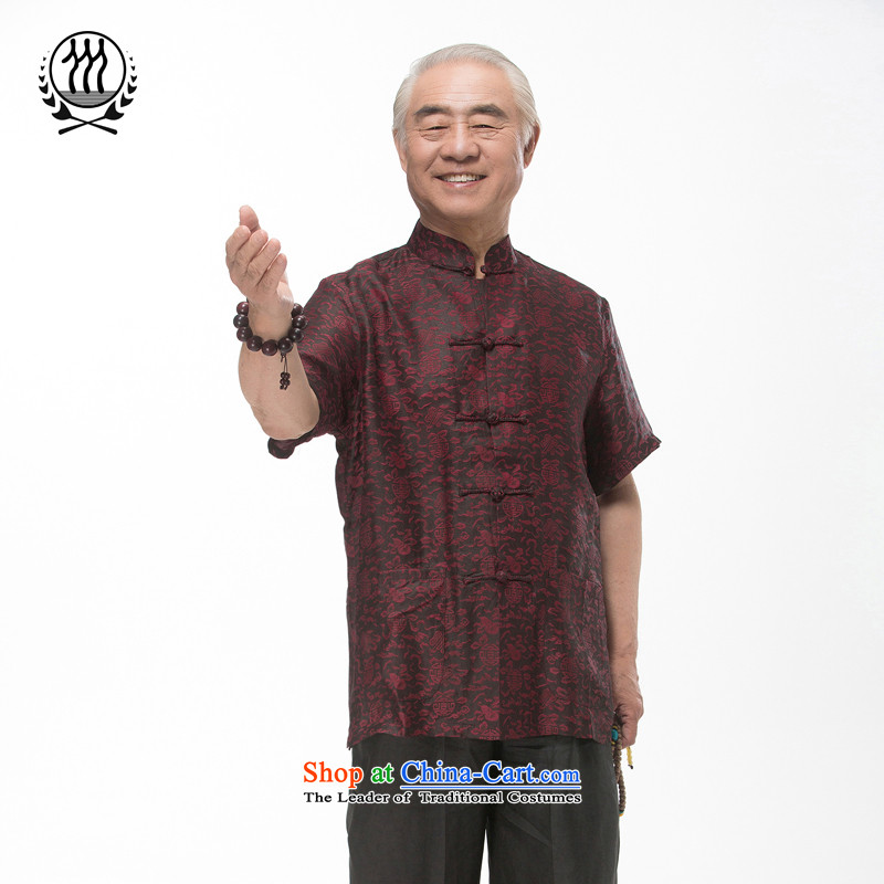 Bosnia and thre line short-sleeved Tang dynasty summer new men incense cloud male silk yarn Tang dynasty in his shirt-sleeves blouse of older men Tang dynasty incense cloud yarn dark red燲XL_185