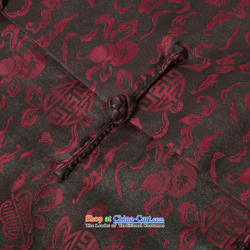 Bosnia and thre line short-sleeved Tang dynasty summer new men incense cloud male silk yarn Tang dynasty in his shirt-sleeves blouse of older men Tang dynasty incense cloud yarn deep red聽and rows (XXL/185, thre gesaxing) , , , shopping on the Internet