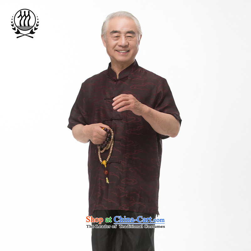 Bosnia and thre line short-sleeved Tang dynasty summer new men incense cloud male silk yarn Tang dynasty in his shirt-sleeves blouse of older men Tang dynasty incense cloud yarn M/170 Brown