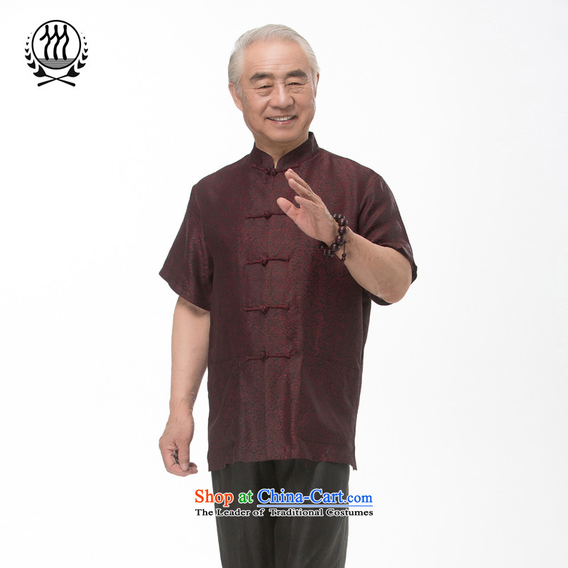 Tang Dynasty short-sleeved summer new men incense cloud male silk yarn Tang dynasty short-sleeved older men Tang blouses China wind men silk short-sleeved Tang dynasty incense cloud yarn dark red?M/170
