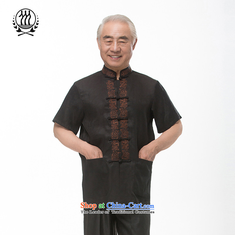Bosnia and thre line short-sleeved Tang dynasty summer new men incense cloud male silk yarn Tang dynasty in his shirt-sleeves blouse of older men Tang dynasty incense cloud yarn燼s L_175