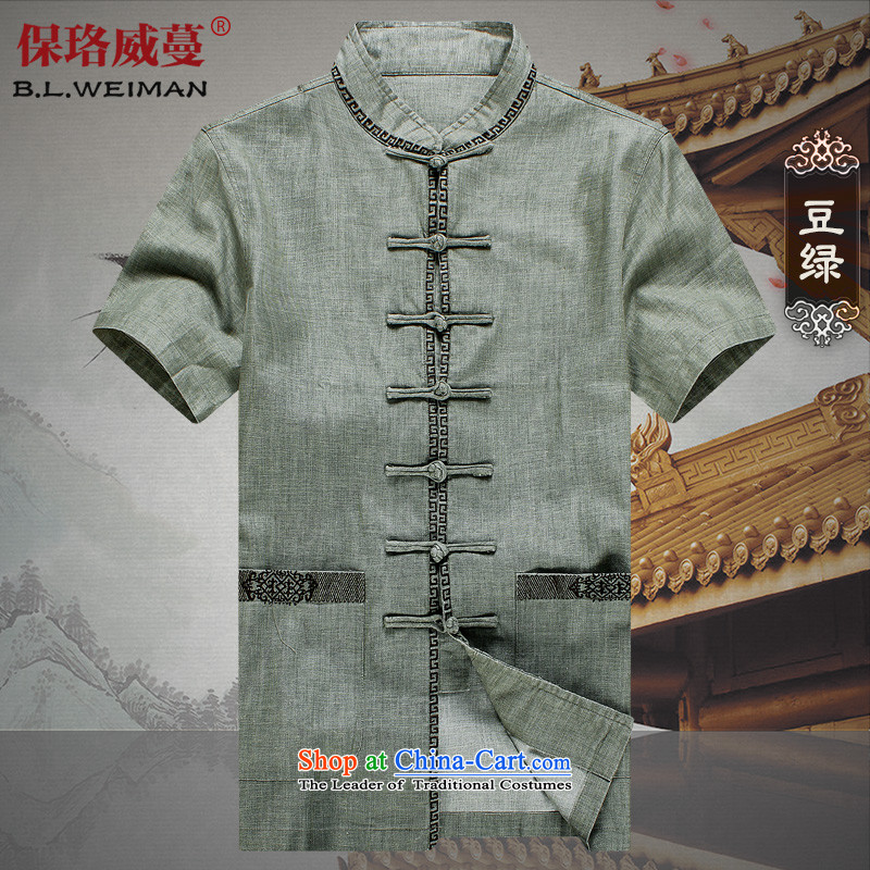 The Lhoba nationality Wei Overgrown Tomb Summer Warranty chinese disc detained Mock-neck Tang dynasty men short-sleeved shirt linen men casual clothes in older linen embroidery Tang soy green M