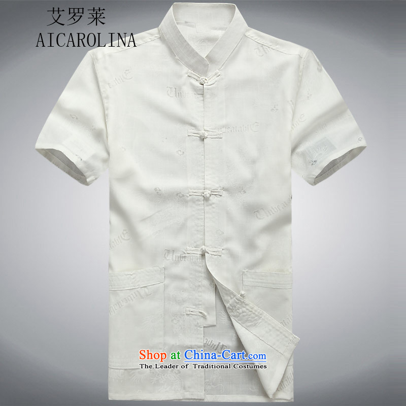 Hiv Rollet middle-aged men China wind Tang dynasty short-sleeved shirt collar in summer elderly men, Casual Shirt, White聽M T-Shirt