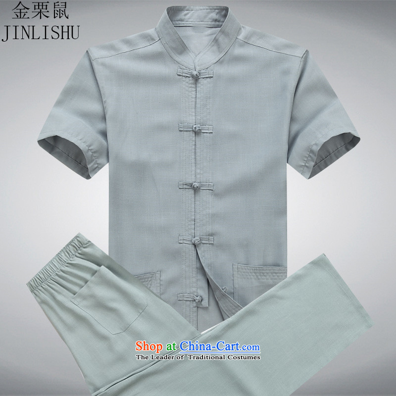 Kim Gopher summer, elderly men loaded Tang dynasty short-sleeved T-shirt men Tang Dynasty Chinese national costume Kit-ching gray suit?XXXL