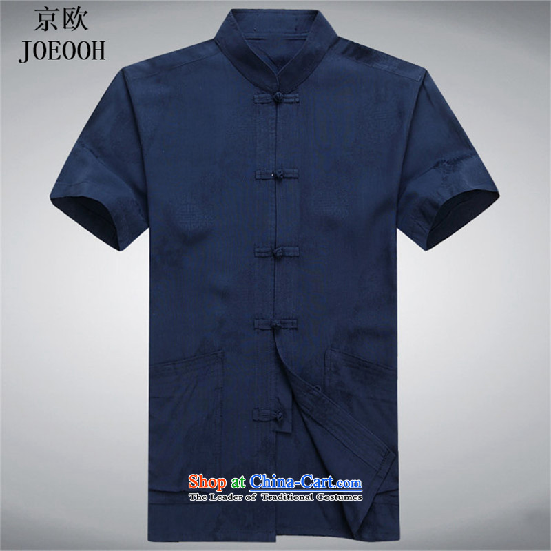 Beijing Europe of older persons in the male short-sleeved Tang Dynasty Chinese Disc deduction for summer casual shirt father Han-blue燲L