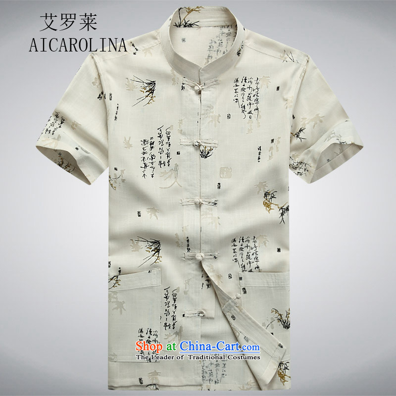 Hiv Rollet new summer Tang dynasty middle-aged short-sleeved T-shirt and China wind men of the middle-aged men's shirt summer beige grandpa聽M