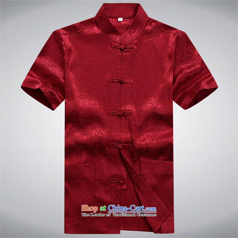 Hiv Rollet summer half sleeve Tang dynasty men Tang dynasty male short-sleeved T-shirt collar Kit Chinese China wind red kit聽XXXL, HIV ROLLET (AICAROLINA) , , , shopping on the Internet