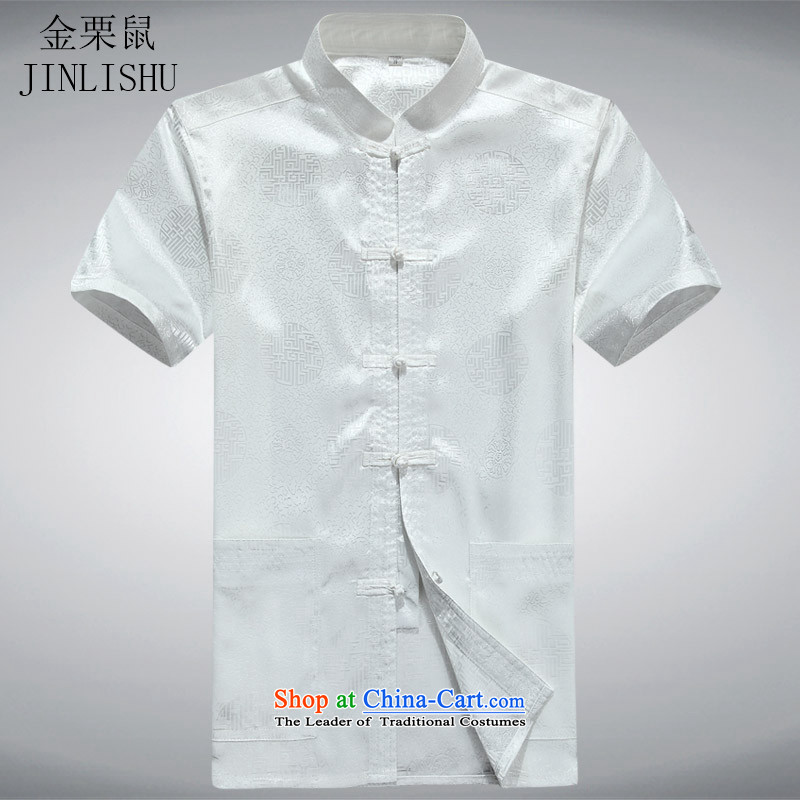 Kanaguri mouse men short-sleeved Tang Dynasty Han-short-sleeved elderly men Tang dynasty short-sleeved white?XL