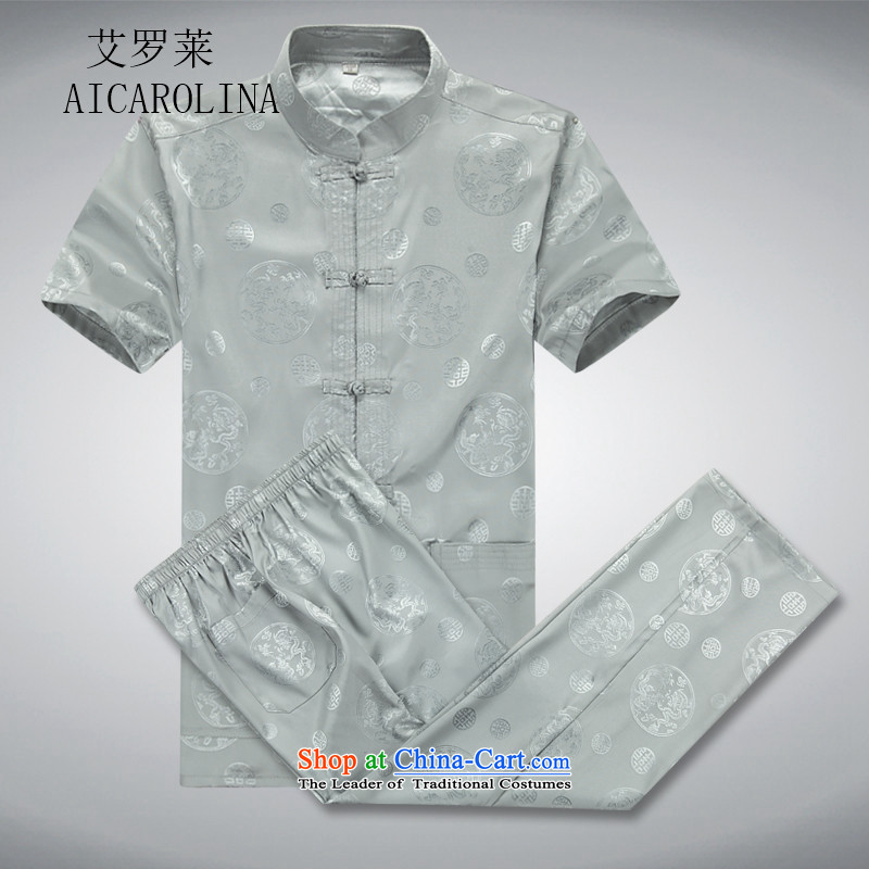Hiv Rollet summer men Tang dynasty short-sleeve kit for larger elderly in Tang Dynasty men casual ethnic short-sleeved gray suit Kit�L