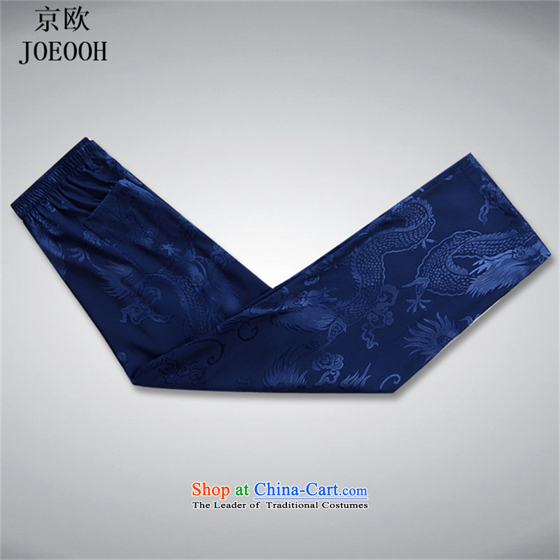 The elderly in the OSCE Kyung Tang dynasty male short-sleeve packaged new summer, older men Tang Dynasty Package of older persons Tang dynasty blue trousers summer birthday XXL