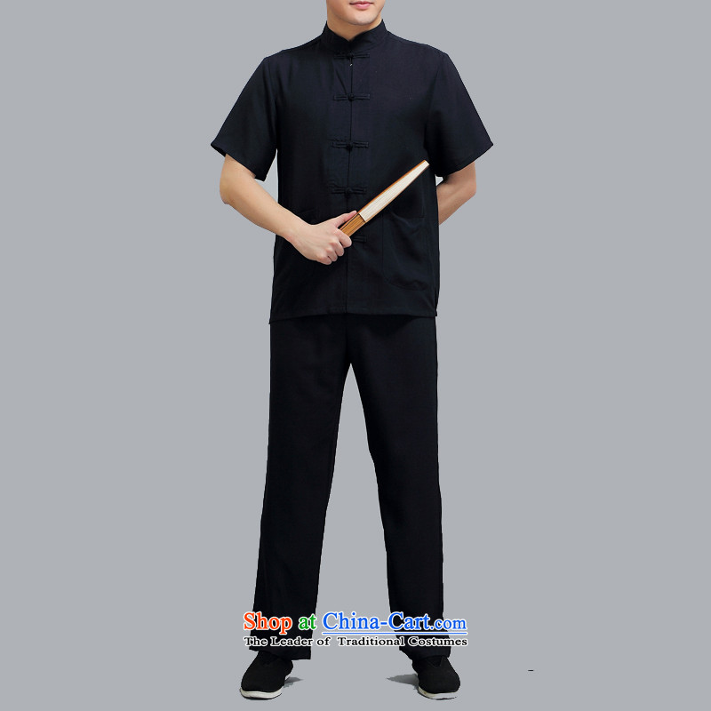 Hiv Rollet Chinese collar of older persons in the Tang dynasty and short-sleeved men Han-ball-Service kit for summer Black燲L