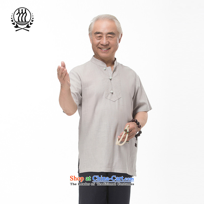 Bosnia and 15 new thre summer Chinese cotton linen embroidery Short-Sleeve Men in older summer kit and a mock-neck Tang dynasty short-sleeved national costumes boutique multi-color light gray?M_170 Optional