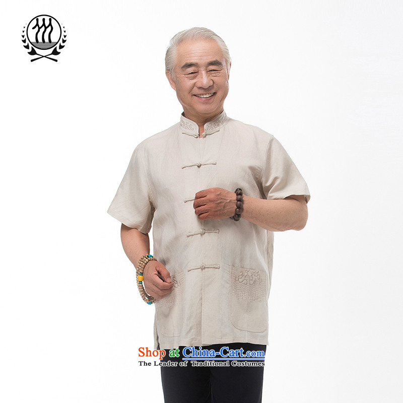 The new line of Bosnia and thre summer Chinese collar embroidery cotton linen Tang dynasty short-sleeved summer in older manually disc clip cotton linen short-sleeved T-shirt ethnic costumes boutique?XXL/185 Beige