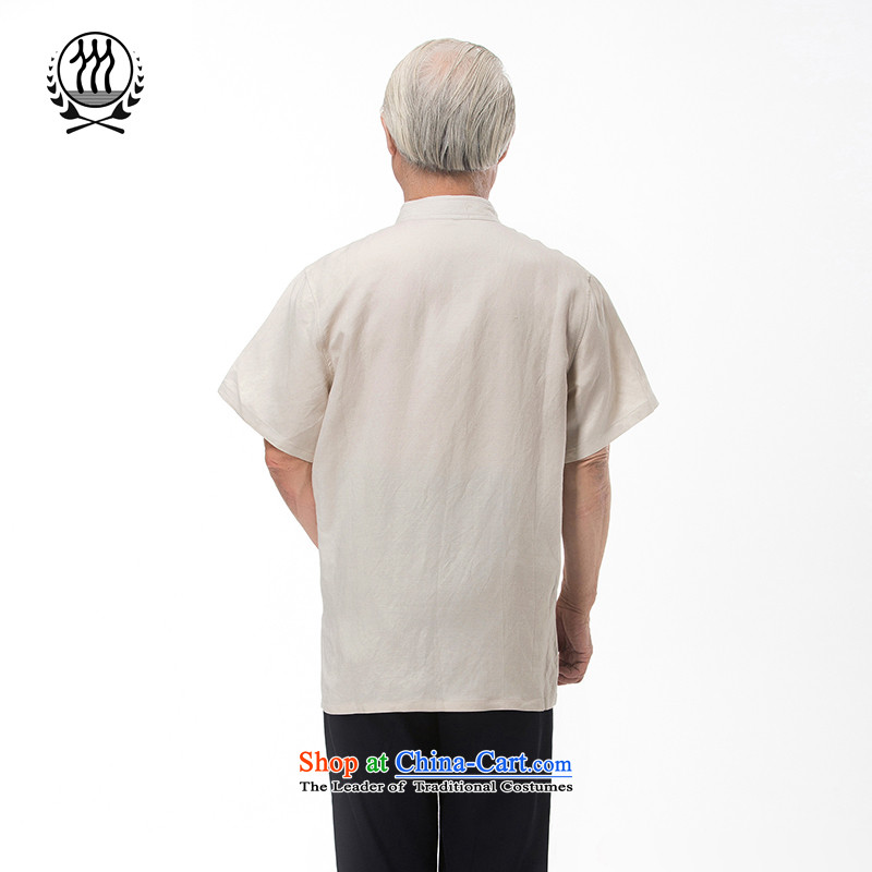 The new line of Bosnia and thre summer Chinese collar embroidery cotton linen Tang dynasty short-sleeved summer in older manually disc clip cotton linen short-sleeved T-shirt ethnic costumes boutique beigeXXL/185, thre line (gesaxing and Tobago) , , , sh