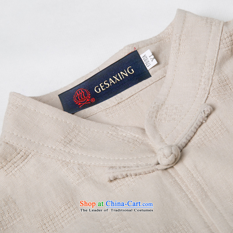 The new line of Bosnia and thre summer Chinese collar embroidery cotton linen Tang dynasty short-sleeved summer in older manually disc clip cotton linen short-sleeved T-shirt ethnic costumes boutique beige聽XXL/185, thre line (gesaxing and Tobago) , , , sh