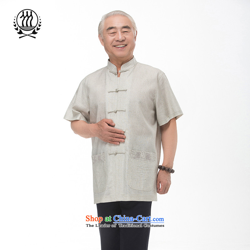 Bosnia and new summer line thre men cotton linen embroidery short-sleeved T-shirt of ethnic Chinese elderly in the collar manually tray clip cotton linen short-sleeved T-shirt?XXXL_190 Light Gray