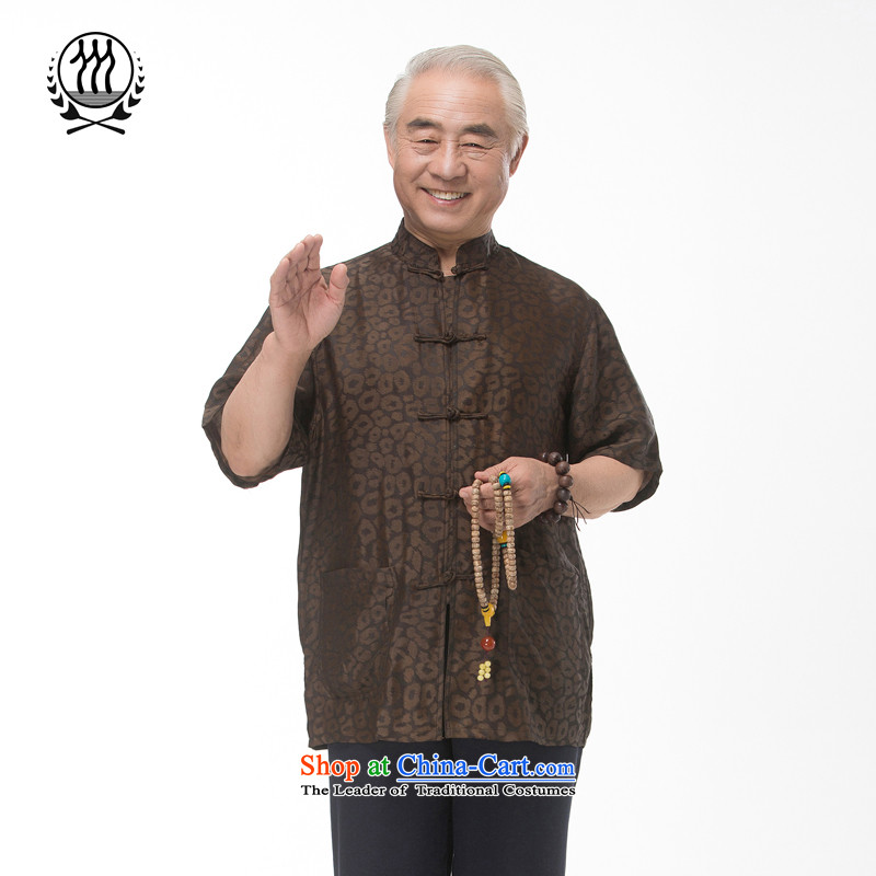 Bosnia and thre line short-sleeved Tang dynasty summer new men incense cloud male silk yarn Tang dynasty in his shirt-sleeves blouse of older men Tang dynasty male Heung-cloud yarn�XXXL/190 Brown