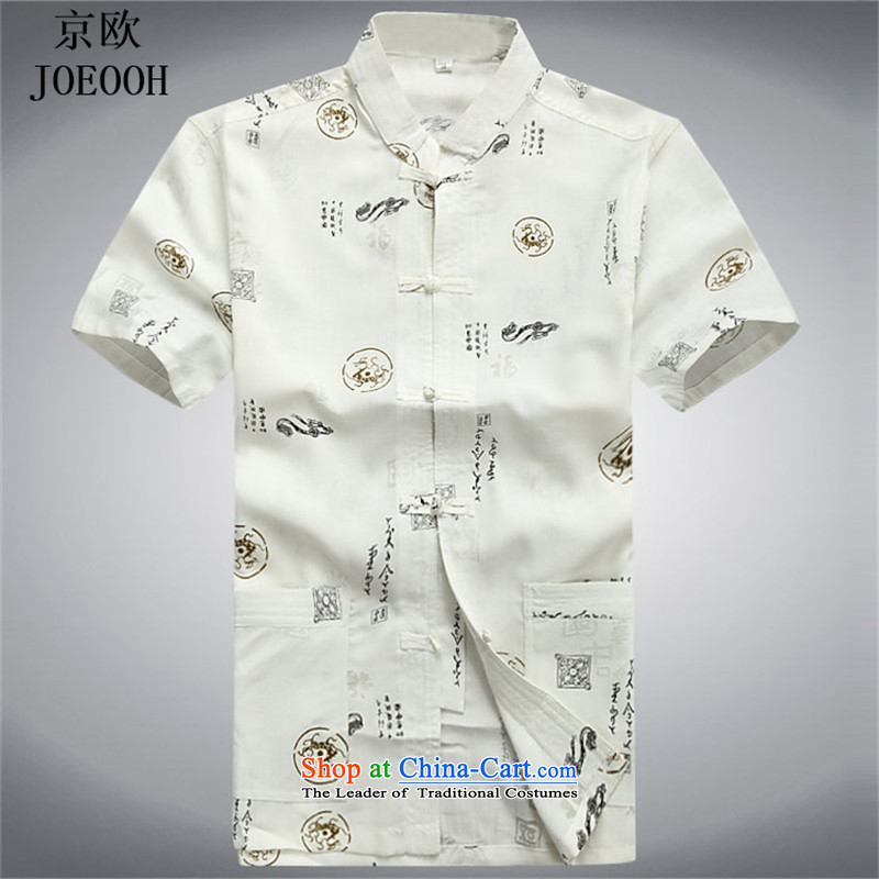 Beijing after the summer men OSCE short-sleeved T-shirt summer Tang replacing older men cotton linen Tang Dynasty Chinese linen tunic?XXXL White