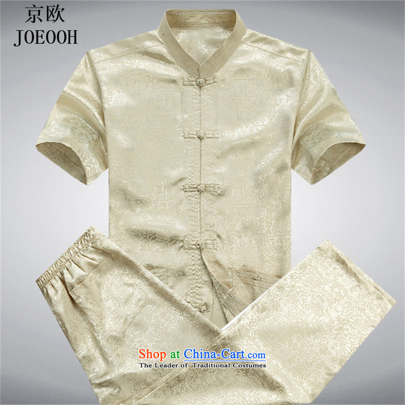Beijing Summer Europe Tang dynasty men's short-sleeve packaged new men of older persons in the Han-men short-sleeved T-shirt China wind GOLD SUITE?M