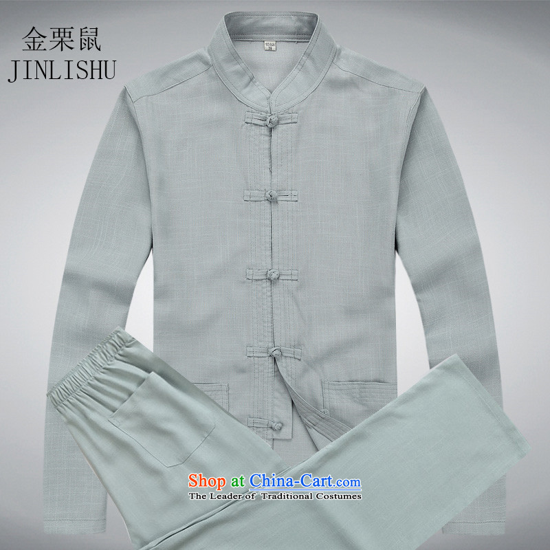 Kanaguri Tang Dynasty Chinese Pan Mouse detained linen long-sleeved sweater shirt gray suit?L