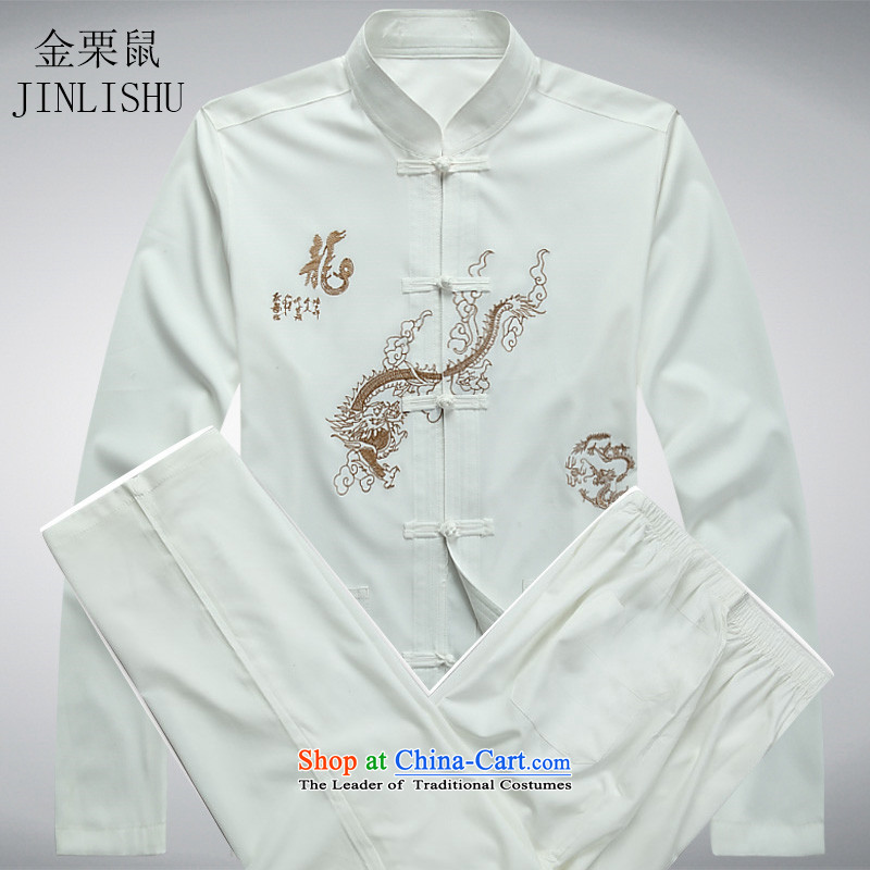 Kanaguri mouse male spring and summer new long-sleeved Tang Dynasty Package Dad butted Chinese elderly Tang dynasty China wind white kit�M