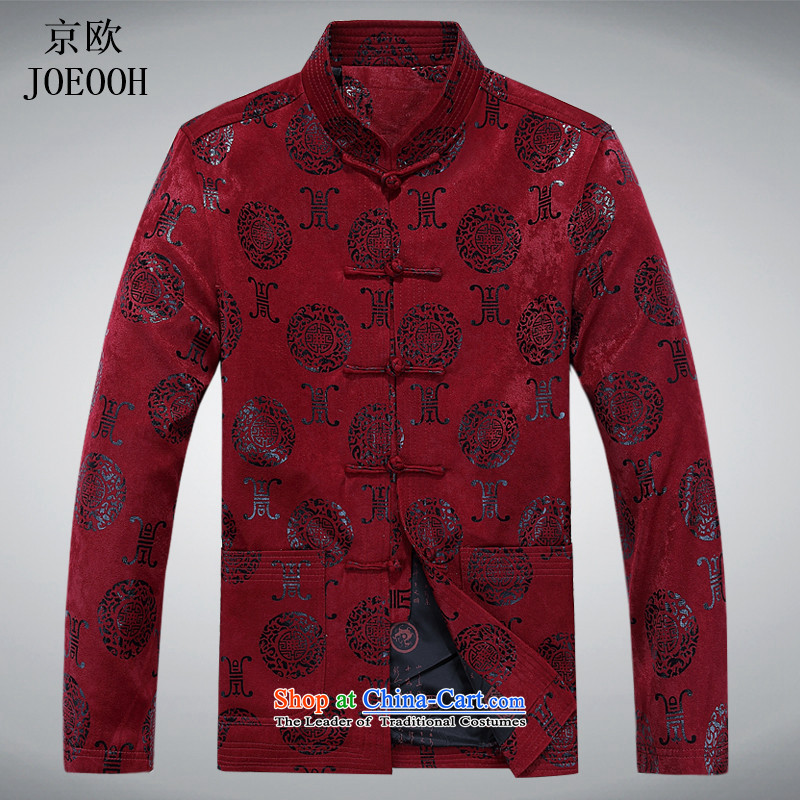 Beijing spring and autumn of 2015, the OSCE New Tang Dynasty Men long-sleeved sweater in older leisure kung fu your disc charge RED M