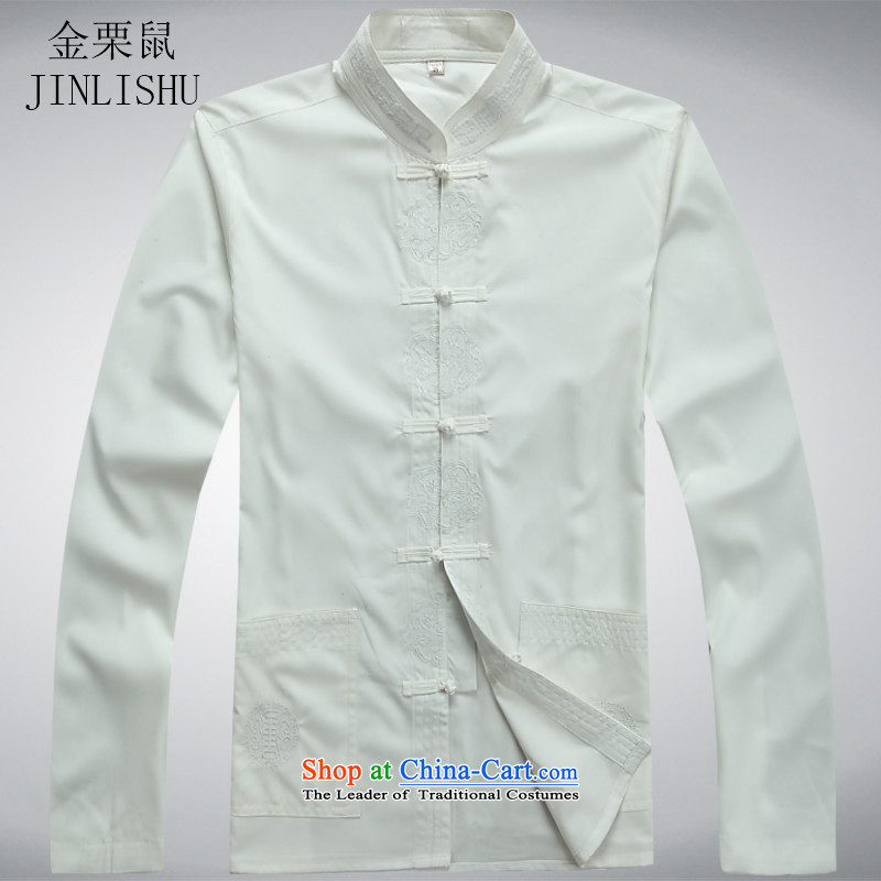 In the spring of Kim Gopher Tang dynasty older men and the elderly in the long-sleeved shirt Tang Dynasty Package Chinese Han-long-sleeved white shirts kit?M
