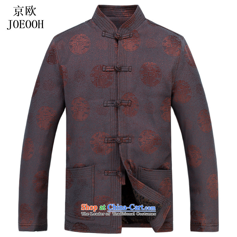 Beijing Spring and Autumn Europe Men's Mock-Neck dress in Chinese elderly men's jackets shirt Dad Tang loaded thick brown?M