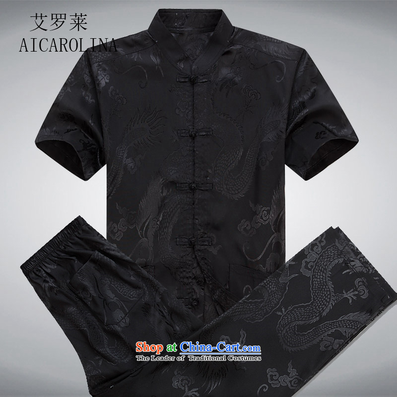 Hiv Rollet middle-aged men China wind Tang Dynasty Package Short-Sleeve Mock-Neck middle-aged men summer blouses black kit S