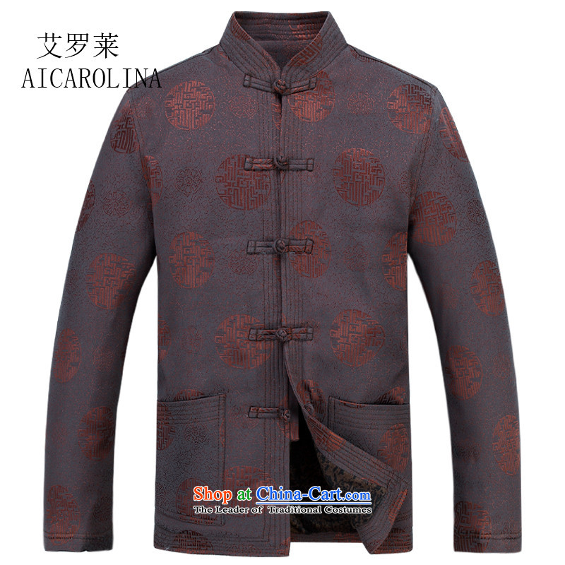 Rollet thickened HIV men in Tang Dynasty cotton jacket older Men's Mock-Neck Chinese Spring Festival cotton coat birthday gift brown?L