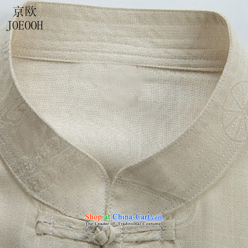 Beijing OSCE Tang Dynasty Chinese leisure cotton linen clothes lung fields men short-sleeved shirts in Tang Dynasty older Han-men detained beige聽S disk manually Putin (JOE OOH) , , , shopping on the Internet