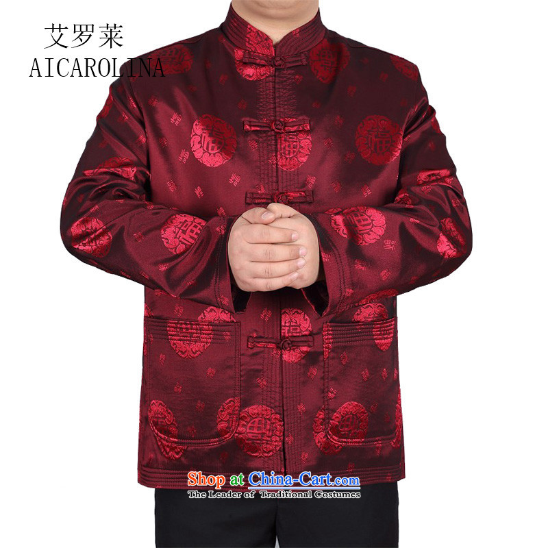 Hiv Rollet middle-aged men Tang Dynasty Chinese long-sleeved T-shirt jacket China wind middle-aged men and the spring and fall of men red聽L