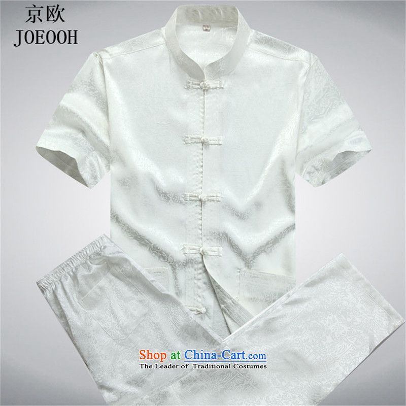 Beijing Summer Europe Tang dynasty men's short-sleeve packaged new men of older persons in the Han-men short-sleeved T-shirt China wind White聽XXL Kit