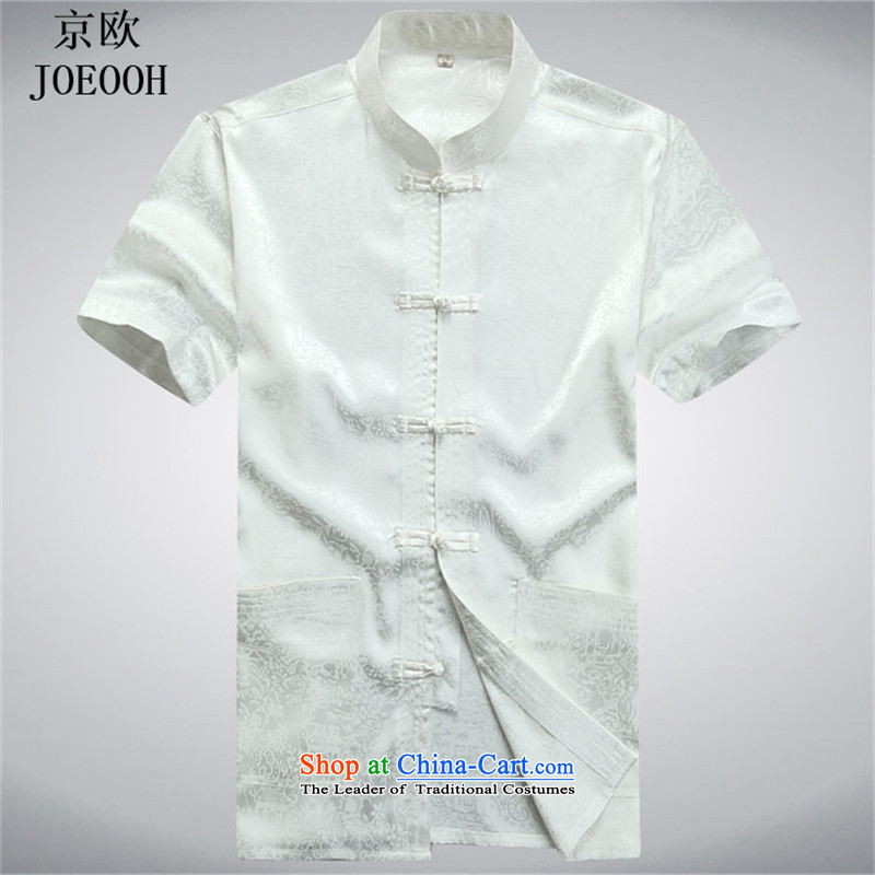 Beijing Summer Europe Tang dynasty men's short-sleeve packaged new men of older persons in the Han-men short-sleeved T-shirt China wind White Kit聽XXL, Putin (JOE OOH) , , , shopping on the Internet