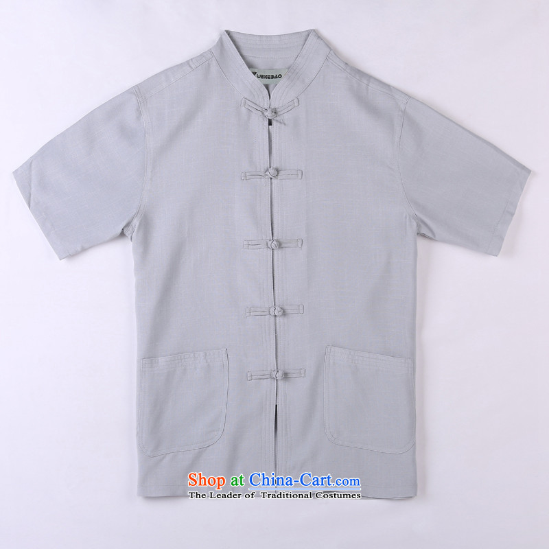 Whig Po 2015 Summer New Products T-shirt linen china wind cool breathability wicking short-sleeved T-shirt men Tang dynasty in Tang Dynasty older聽5聽gray聽XXL
