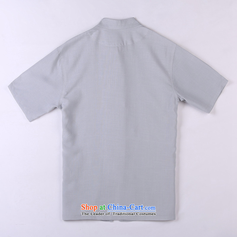 Whig Po 2015 Summer New Products T-shirt linen china wind cool breathability wicking short-sleeved T-shirt men Tang dynasty in Tang Dynasty older聽5聽gray聽XXL, federal core Chai Lang , , , shopping on the Internet