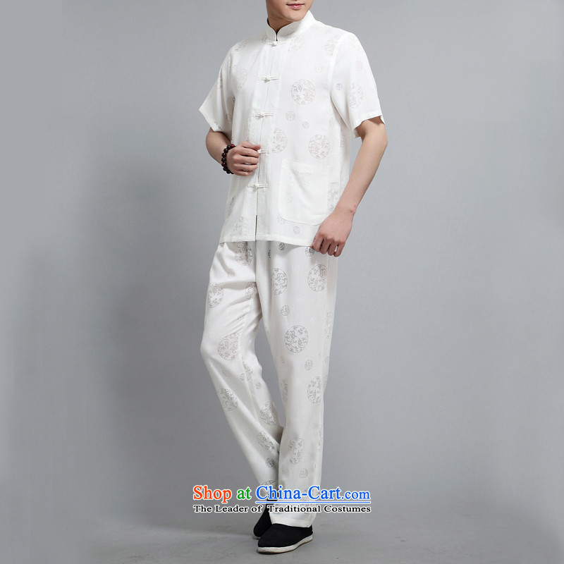 Rollet HIV from older men summer short-sleeved Tang dynasty China National wind load father Chinese collar Leisure Suite White聽XXL, HIV ROLLET (AICAROLINA) , , , shopping on the Internet